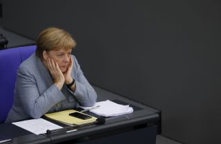 German Chancellor Angela Merkel in the Bundestag during a budget debate on Sept. 10, 2019, in Berlin.