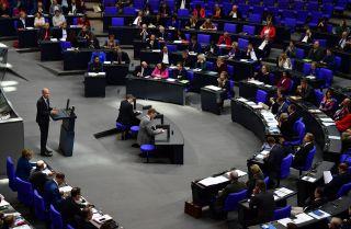Ralph Brinkhaus, leader of the CDU/CSU parliamentary group, addresses the Bundestag on Oct. 17.