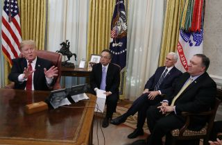 U.S. President Donald Trump talks during an Oval Office meeting with Chinese Vice Premier Liu He, leader of China's trade delegation, on Jan. 31, 2019.