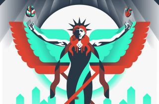 This stylized image depicts health care advances through technology