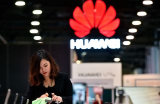 The Huawei booth during CES 2018 in Las Vegas