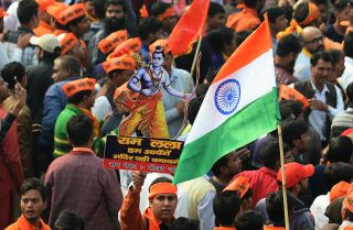 A Dec. 9, 2018, rally in New Delhi calling for the construction of a Hindu temple on the site of the demolished Babri Mosque.
