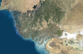 A composite satellite image of the Indus River Delta in Pakistan, where the Indus River flows into the Arabian Sea.