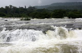 A background with a view of gushing water during recent floods in India.