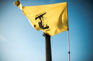 A Hezbollah flag seen in Trafalgar Square during the demonstration.