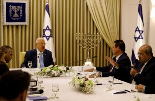 Israeli President Reuven Rivlin meets with members of the Arab-dominated Joint List party in Jerusalem on Sept. 22, 2019.