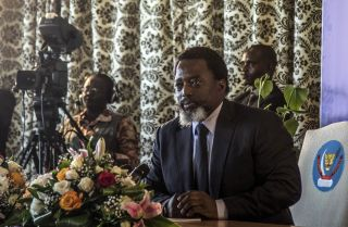 Congolese President Joseph Kabila holds a news conference in January 2018.