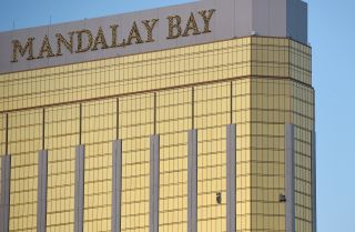 Evidence of the sniper's perch in the form of broken windows on the 32nd floor of the Mandalay Bay hotel and casino in Las Vegas.