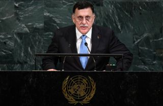 The head of Libya's internationally recognized Government of National Accord, Fayez al-Sarraj, addresses the 72nd Session of the U.N. General Assembly in New York on Sept. 20, 2017.