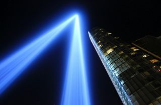 """The """"Tribute in Light,"""" representing the twin towers of the World Trade Center, illuminates the New York skyline on the eve of the 16th anniversary of the Sept. 11, 2001, terrorist attacks."""