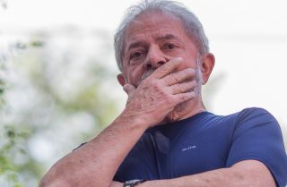 Former Brazilian President Luiz Inacio Lula da Silva, shown here after a mass held in memory of his late wife Marisa Leticia on April 7, 2018, in Sao Paulo, Brazil.