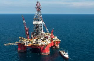A ship approaches the Centenario oil rig in the Gulf of Mexico in 2013.