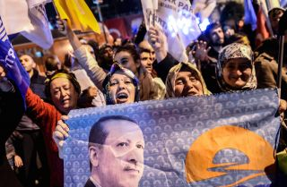 Supporters of Turkey's Justice and Development Party (AKP) celebrate in Istanbul