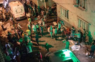 The scene of an explosion on Aug. 20, 2016, in Gaziantep, Turkey, after a late-night militant attack on a wedding party that Turkish President Recep Tayyip Erdogan said the Islamic State was behind.