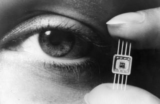 An October 1964 Westinghouse display of new molecular electronics able to replace as many as 50 transistors.