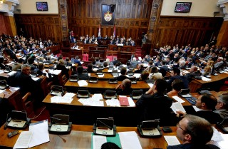 Serbian members of parliament attend the National assembly during of a parliamentary session in Belgrade on July 26, 2012. AFP PHOTO / ANDREJ ISAKOVIC (Photo credit should read ANDREJ ISAKOVIC/AFP/GettyImages)
