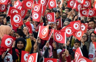 Tunisians gathered at a rally in the capital on Jan. 14 to mark the fifth anniversary of the Arab Spring. Despite the promises of its 2011 Jasmine Revolution, Tunisia's economy has languished.