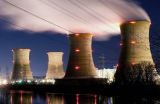 The Three Mile Island Nuclear Plant is seen in the early morning hours in Middletown, Pennsylvania..