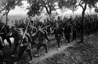 German infantry in training a month before the start of World War I, June 30, 1914.