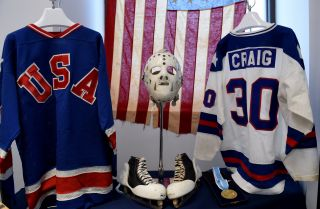 Items from the 1980 U.S. Winter Olympic Games in which the United States defeated the Soviet Union and won the gold medal, called the Miracle on Ice.