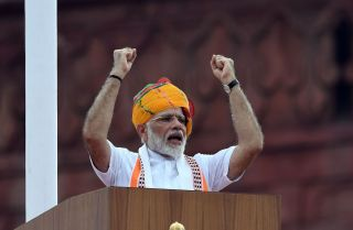 Indian Prime Minister Narendra Modi delivers a speech to the nation during a ceremony to celebrate the country's 73rd Independence Day, which marks the of the end of British colonial rule, at New Delhi's Red Fort on Aug. 15, 2019.