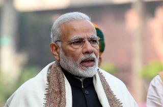 Indian Prime Minister Narendra Modi speaks to reporters before attending a budget session in Parliament on Jan. 29.