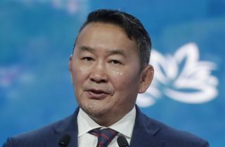 Mongolian President Khaltmaa Battulga speaks on Sept. 5, 2019, during the Eastern Economic Forum in Vladivostok, Russia.
