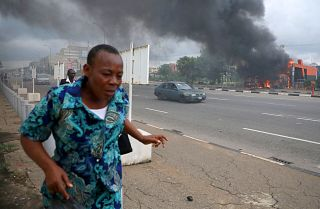 Members of the Islamic Movement of Nigeria were reported to have set this building on fire during clashes with police in Abuja, Nigeria's capital, on July 22, 2019.