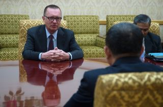 U.N. Under-Secretary-General for Political Affairs Jeffrey Feltman (L), met in Pyongyang with a senior member of the North Korean administration Dec. 7, 2017, marking the first such visit by a U.N. diplomat in seven years.