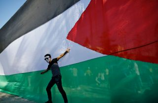 A Palestinian youth poses in front of his national flag during celebrations in Gaza City after rival Palestinian factions Hamas and Fatah reached an agreement ending their decadelong split on Oct. 12.