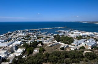 View of the Mediterranean Sea from the port of Kelibia in Tunisia.