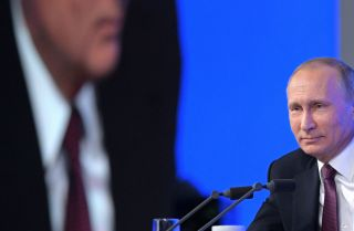 Russian President Vladimir Putin speaks during his annual press conference in Moscow on Dec. 23, 2016. The election of a U.S. presidential candidate who is friendly to Moscow has undermined Putin's entire diplomatic strategy.