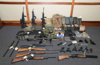 A collection of weapons and ammunition federal agents say they found in the apartment of a member of the U.S. Coast Guard accused of plotting a major terror attack against Americans.