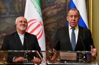 Russian Foreign Minister Sergei Lavrov and his Iranian counterpart, Javad Zarif, give a joint press conference following their talks in Moscow on May 8, 2019.