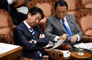 Shinzo Abe (left), prime minister of Japan, and Taro Aso, finance minister, attend a budget committee meeting in Tokyo on March 19, 2018.