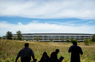 Journalists gather for a product launch event at Apple headquarters in Cupertino, California, on Sept. 12, 2018.