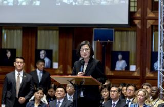Taiwanese President Tsai Ing-wen speaks during the opening ceremony of the congress of the International Federation of Human Rights in Taipei, Taiwan, on Oct. 21, 2019.