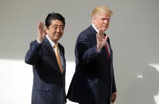 U.S. President Donald Trump and Japanese Prime Minister Shinzo Abe during Abe's Feb. 10, 2017, visit to the White House.