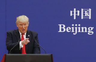 U.S. President Donald Trump speaks during his November 2017 visit to Beijing.