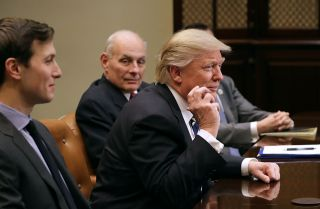 U.S. President Donald Trump speaks during a Jan. 31, 2017, White House meeting with cybersecurity experts.