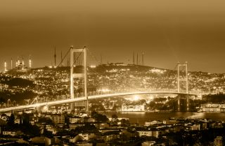 A bridge over the Bosporus in Istanbul, Turkey