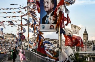 A bridge in Istanbul, Turkey, is festooned with campaign flags for Turkish President Recep Tayyip Erdogan.