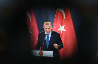 Turkish President Recep Tayyip Erdogan addresses the media during an Oct. 8, 2018, news conference with Hungarian Prime Minister Viktor Orban in Budapest, Hungary.