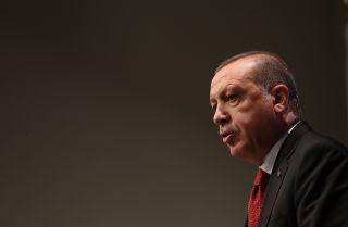 Turkish President Recep Tayyip Erdogan talks to the press as the 2017 G-20 summit winds down.