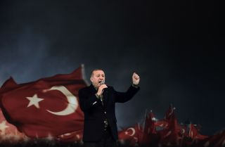 Turkish President Recep Tayyip Erdogan gives a speech at a rally in Istanbul in 2017.