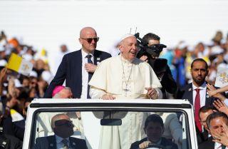 Pope Francis arrives to celebrate Mass at Zayed Sports City Stadium in Abu Dhabi, United Arab Emirates, on Feb. 5, 2019.
