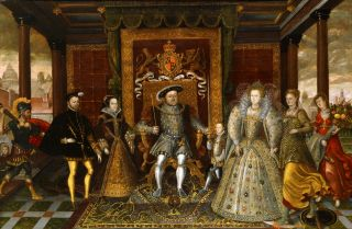 "A photograph of ""The Family of Henry VIII: An Allegory of the Tudor Succession,"" a 16th century painting attributed to Lucas de Heere."