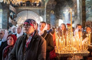 Worshippers attend a service at the Kiev-Pechersk Lavra in Ukraine during October.