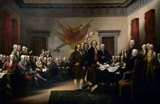 A painting of the Declaration of Independence by John Trumbull (1756-1843).