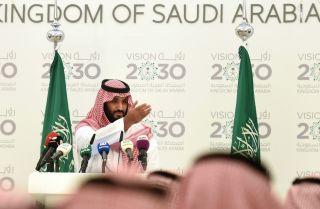 Saudi Deputy Crown Prince Mohammed bin Salman unveils his Vision 2030 plan for reform on April 25, 2016, in Riyadh.